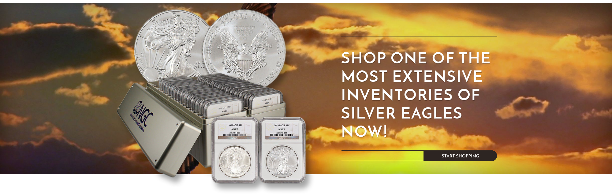 Shop one of the most extensive inventories of Silver Eagles now! - start shopping